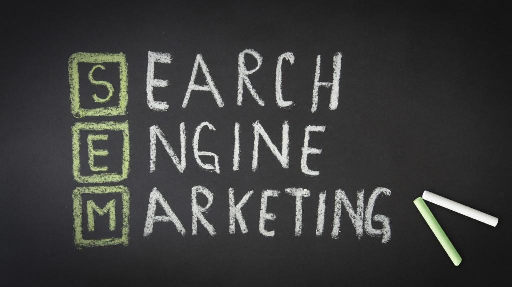 Search Engine Marketing Chalk illustration on dark background.