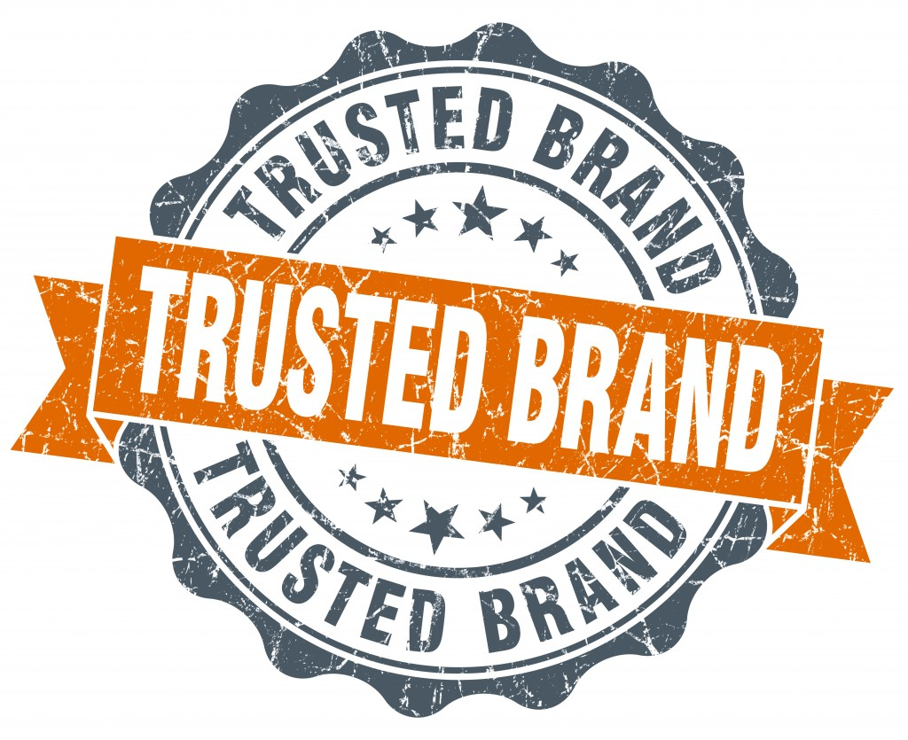 trusted brand vintage orange seal isolated on white