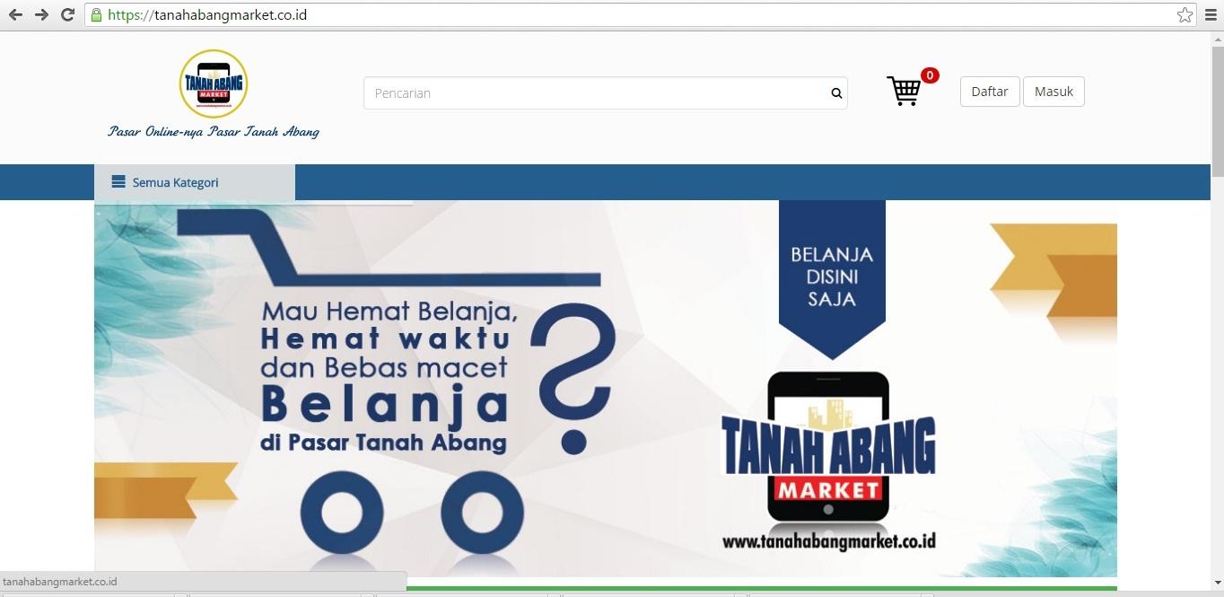 Tampilan website pasar tanah abang online